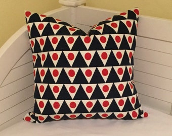 Schumacher Studio Bon Pennant II in Navy and Red (on Both Sides)  Indoor Outdoor Pillow Cover - Square, Lumbar and Euro Sizes