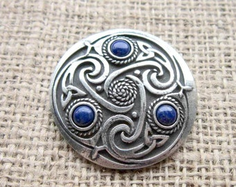 Blue Lapis Lazuli Celtic knotwork shield brooch - chunky pewter with triquetras dark blue stone