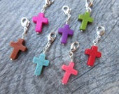 Colored Howlite Cross Clip-On Charm Silver tone lobster clasp--Purse charm, Key fob, zipper pull, planner charm, unisex easter gift
