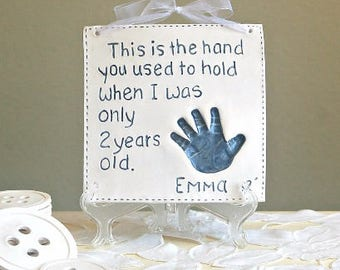 Kids and Baby Handprint Art - Keepsake Handprint Art  - Child Memento - Baby Keepsake - Gift For New Mom -Personalized Baby
