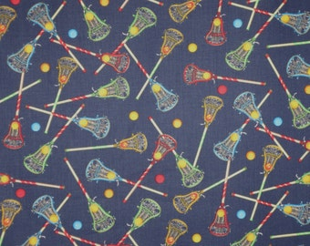 Colorful Lacrosse Sticks on Navy Print Pure Cotton Fabric--By the YARD
