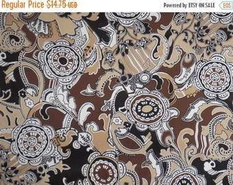 ON SALE Shades of Brown with Black and White Florentine Print Stretch Cotton Sateen Fabric--One Yard