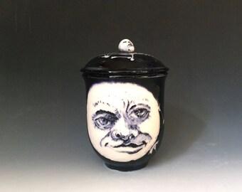 Black and White Jar with Lid,  Moon Face, Sugar Bowl, Dancing Skeletons, Day of the Dead Gift, Lidded Jar, Skulls and skeletons