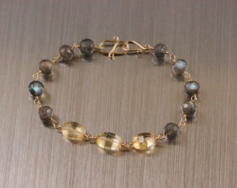 Citrine and Labradorite Bracelet, 14k Gold Filled, Wire Wrapped, Yellow and Grey, Rosary Bracelet, November Birthstone