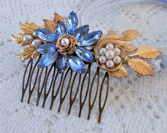 Floral Hair Comb, Blue Hair Comb, Something Blue, Assemblage Hair Jewelry, Collage Hair Comb, Rhinestone Hair Piece, Gold Leaf Hair Comb