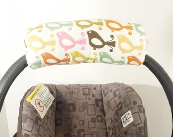 Infant Car Seat ARM PAD, Handle Cover Wrap, Reversible - Birds and Daisies