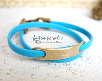 Bronze and turquoise leather bracelet, De tout mon coeur, OOAK, SABR34
