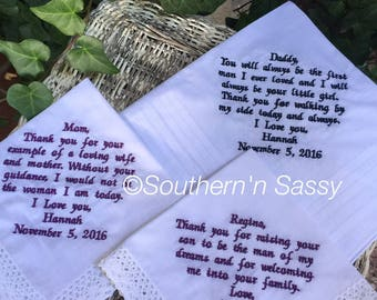 Elegant Set Of 3 Custom Embroidery Wedding Handkerchief