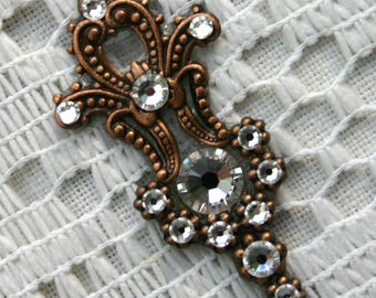 Crystal Clear Bindi in Oxidized Copper