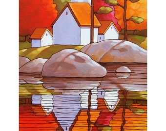 8x11 Art Print Autumn Vacation Cottages, Modern Folk Art Fall Trees Water Reflection Landscape, Reproduction Giclee Artwork by Cathy Horvath
