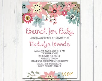 Brunch For Baby Invitation, Baby Shower Brunch, Baby Shower Invitation, Baby  Shower Girl