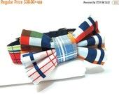 ON SALE Dog Bowtie, Bow tie Dog Collar, Dog Collar Bow, Bow Tie Attachment, Bowtie Dog Collar- Nautical Plaid Tommy Boy