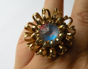 On Sale Sarah Coventry Mystic blue faux opal rhinestone ring. Size 7 3/4.  Upcycled.