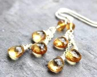 Citrine Earrings Dangle Earrings, Amber Briolette Chain Earrings Sterling Silver November Birthstone