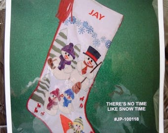 Right Facing Christmas Stocking Kit - Crewel Embroidery Heirloom Snowman Scene Personalized Colorful Xmas Decoration