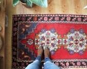 """vintage Turkish runner rug, rustic colorful geometric rug, happy bohemian rug, 8'10"""" x 3'0"""""""