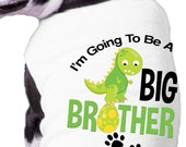 Green Dino I'm Going to Be a Big Brother Announcement Ribbed Dog Shirt Family Doggy t-shirt dog paw dinosaur dog shirt
