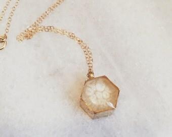 Honeycomb Resin Pendant Necklace - in Cream
