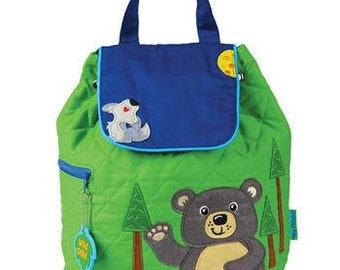 SHIPS NEXT DAY--Personalized Monogrammed --New Pattern Stephen Joseph Kid Quilted Lime Blue Brown Bear Backpack-Free Monogramming-