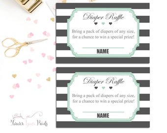 Boys Baby Shower Diaper Raffle Card, Baby Shower Insert Cards, Mint and Gray Diaper Raffle, Boys Baby Shower Games, Baby Diaper Raffle