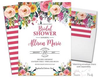 Flowers Bridal Shower Invitation - Floral Bridal Invite - Bridal Shower Invites - Floral Engagement - Engagement Invitation Printable