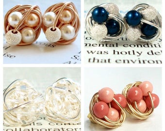 Customize Your Own Pair of Petite Wire Wrapped Stud Earrings - Made to Order - Swipe left to see custom color options