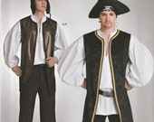 Mens Pirate Costume Pattern Easy Costume Uncut Mens Size XS - XL Simplicity 323 S0323
