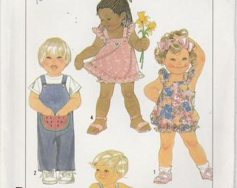 Toddler Romper Pattern Sundress Jumpsuit Boy Girl Size 3  uncut 1989 Vintage Simplicity 9233