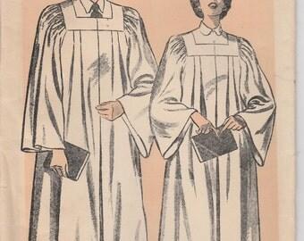 Choir Robe Pattern Vintage Square Yoke  Size Large Chest 38 - 40 Advance 708 Unprinted