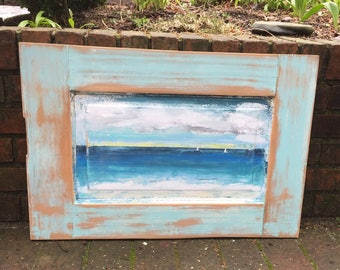 Original Sander Painting - A Day At Sea - Beach House Art Wall Decor Door Painting by CastawaysHall  - READY TO SHIP