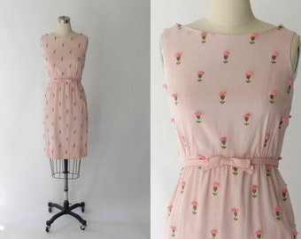 1960s Linen Sheath Dress Lanz Original // 60s Vintage Light Pink Floral Dress // XS - Small