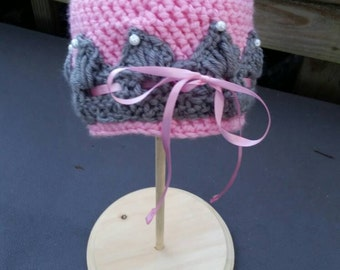 Princess Inspired Hat- Pink hat, bringing home baby, babys first outfit, crown hat, new baby