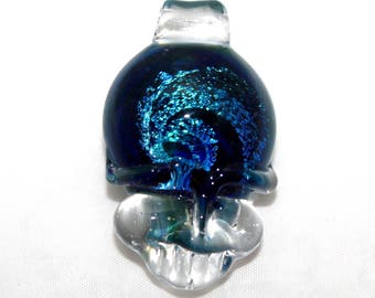 Grateful Dead inspired steal your face stealie pendant, hippie, deadhead, dead lot, lucky glass, lucky stealie, handblown