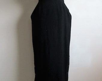 80s Wool Georges Rech Pencil Skirt Vintage 1980s Rockabilly Style Black Wool Blend Midi Skirt Made in France Small