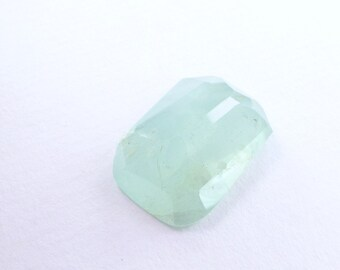 Hazy Blue Aquamarine Faceted Cab. Natural Gemstone. Large. Microfacet Polkie Cut. Geometric. Can Be Drilled 16.75 cts. 21x15x7mm (EM2385)