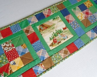 Country Quilted Table Runner, Quilted Table Topper, Camping Theme Table Quilt, Patchwork Table Runner, Camper or RV Decor, Cabin Decor