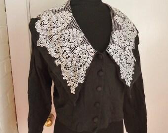 HUGE Paisley Print LACE Collar Vintage 1980's Women's Shirt L