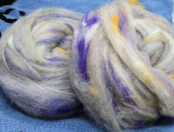 Art Roving - Lavendar Garden  4 oz. Spinderellas Thrums™ - Spin ~Felt ~ Weave ~ Knit. Fun and funky. Alpaca- Merino- Mohair- Silk