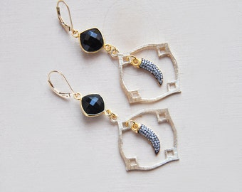Small Horn Earrings, Horn Earrings, Crystal Earrings, Quartz Earrings, Festival Earrings, Bohemian Earrings, Black Onyx Earrings, Boho