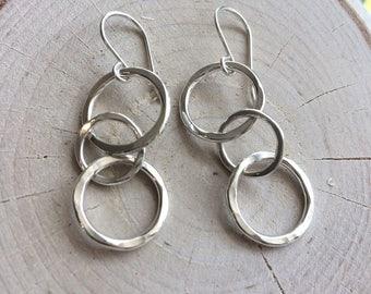 Long Circle Earrings In Sterling Silver Triple Link Chain Long Drop Earrings