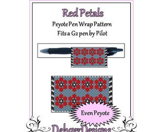 Peyote Beading Pattern (Pen Wrap/Cover)-Red Petals