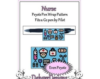 Bead Pattern Peyote(Pen Wrap/Cover)-Nurse