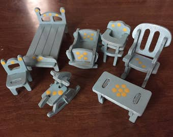DOLLHOUSE FURNITURE.  34 pieces  Hand painted, stained & constructed wooden dollhouse furniture.  Gorgeous white oak.