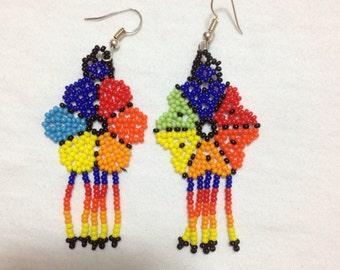 OOAK Native American Beaded Earrings Inspired/Flower Earrings/Gift For Her/Rainbow Earrings/Handmade Jewelry