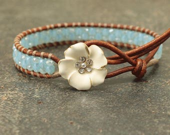 Off White and Turquoise Leather Wrap Bracelet Unique Shabby Chic Flower Jewelry Beaded Crystal and Leather Bracelet