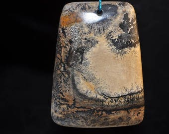"""34x47x6mm """"Countryside""""~Chinese PAINTING JASPER Large Trapezoid Focal Pendant - J1099"""