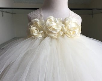 Ivory Flower Girl Satin Lace Rosette Tutu Dress, Flower Girl Dress- Wedding Dress, Baby Girl, Toddler, Girls