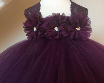 RESERVED LISTING- Plum Eggplant Flower Girl Satin Lace Tutu Dress, Wedding Dress, Baby Girl, Toddler, Girls