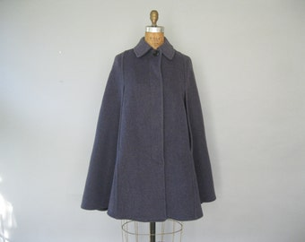 Vintage Wool Cape Coat - 70s Poncho - Gloverall