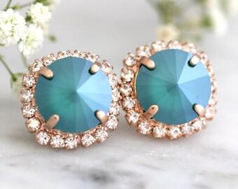Emerald Earrings, Dark Green Earrings, Christmas Gift, Bridal Emerlad Earrings, Gift For her, Bridesmaids Earrings, Emerlad Swarovski Studs